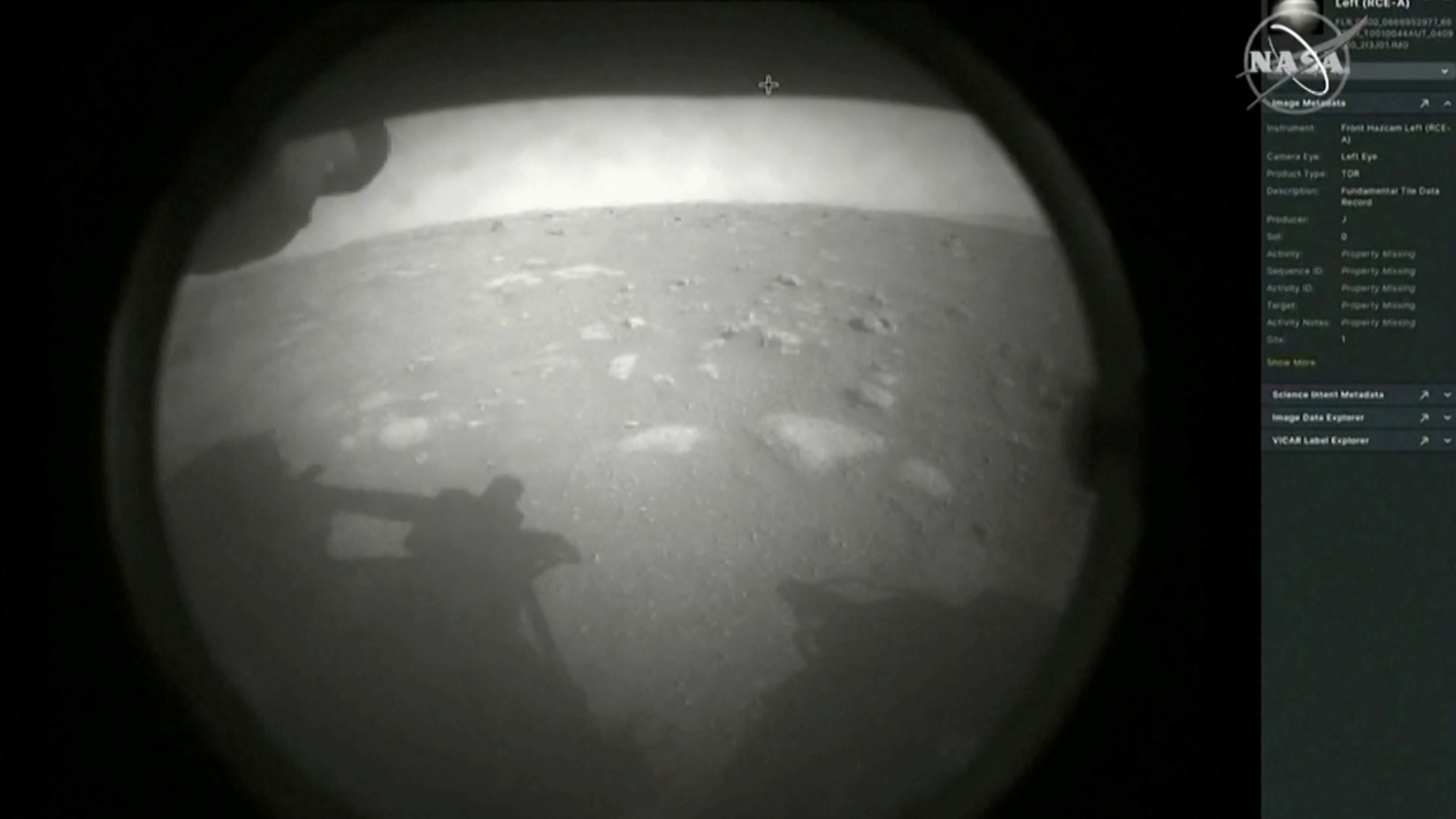 The first images arrive moments after NASA's Perseverance Mars roverspacecraft successfully touched down on Mars
